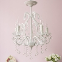 White Candle Chandelier Lighting Fixture with Crystal Decoration Modern 5 Heads Chandelier Lamp for Foyer
