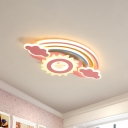 17/21/26 Inch Wide Rainbow Ceiling Light Fixture Modern Metal LED Ceiling Lamp in White/Pink for Children