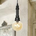 Clear/Amber Glass Ball Hanging Light with Valve Industrial 1 Light Pendant Light Fixture