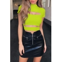Basic Female Plain Short Sleeve Mock Neck Cut Out Detail Sexy Crop T Shirt