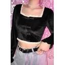 Cute Girls' Vintage Black Ruffle Sleeve Square Neck Lace Trim Frog Button Velvet Crop Top
