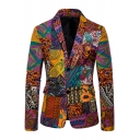 Mens New Trendy Geo Tribal Printed Long Sleeve Notch Collar Double Buttons Casual Suit