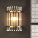 Demilune Cylinder Wall Light Fixture Contemporary Clear Crystal 1 Light Living Room Wall Lamp in Gold Finish
