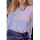 Elegant Purple Long Sleeve V-Neck Stringy Selvedge Knit Crop T-Shirt for Ladies