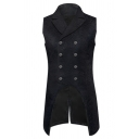 Mens Gothic Steampunk Plain Double-Breasted Jacquard Party Blazer Vest Tunic Swallow-Tailed Waistcoat