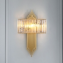 Metal Tube Wall Lighting Modern 2 Lights Golden Wall Sconce Fixture with Rectangular Clear Crystal Shade,14.5