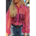 Crazy Sexy Street Blouson Sleeve Pointed Collar Button Down Polka Dot Sheer Casual Shirt for Ladies