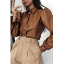Plain Women's Puff Sleeve Point Collar Button Down Leather Loose Fit Blouse Top
