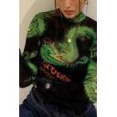 Female Unique Street Glove Sleeve Mock Neck Letter ROCK MORE Dragon Print Fitted Bodysuit in Black