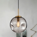 Modern Bubble Hanging Lamp Kit Amber/Smoke Gray Glass 1 Head Dining Room Pendant Light Fixture