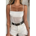 Hot Women's Sleeveless See-Through Mesh Patched Slim Fit White Cami Bodysuit for Club