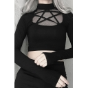 Dark Goth Glove Sleeve Mock Neck Pentagram Pattern See-Through Black Mesh Slim Fit Crop T Shirt for Party Girls