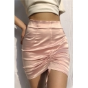 Edgy Girls' High Waist Drawstring Ruched Zip Back Plain Tight Short Skirt for Party