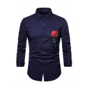 Mens Trendy Rose Embroidered Pattern Long Sleeve Turndown Collar Slim Fit Shirt