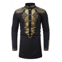 Male Popular African Fashion Print Stand Collar Button Front Casual Slim Tunic Shirt