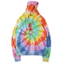 Unisex Colorful Tie Dye Vortex ASTRO WORLD TOUR Print Long Sleeve Oversized Hoodie