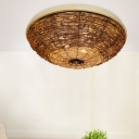 Wicker Rattan Flush Lighting Country Style 3 Lights 12.5