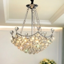 Clear Crystal Bowl Chandelier Light Fixture Modernist 6 Bulbs Dining Table Suspension Light in Chrome