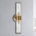 Staircase Sconce Light Fixture with Clear Tube Glass Lampshade Minimalist 2 Lights Wall Mounted Lamp in Brass