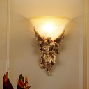 1-Light Frosted Glass Flush Wall Sconce Colonial Gold/Beige Bell Living Room Wall Light Fixture