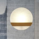 Circular Living Room Wall Lamp Colonialism Marble LED Gold Flush Mount Wall Sconce