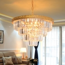 Golden Conical Chandelier Pendant Modernist 5 Heads Crystal Hanging Ceiling Light