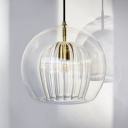 Clear Glass Sphere Pendant Ceiling Light Modernism 1 Head 6