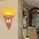 Colonial Style Trumpet Shape Sconce Light 1 Bulb Yellow Glass Wall Lighting Fixture
