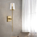 Tapered Fabric/Glass Shade Wall Sconce Vintage 1 Bulb Clear/White Wall Mounted Lighting with Black/Brass Bar