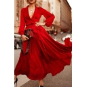 Ladies Fashion Plain Lapel Collar Long Sleeve Tied Waist Silk Satin Maxi Wrap Dress