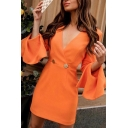 Elegant Ladies' Long Sleeve Surplice Neck Mental Button Zipper Back Ruffled Trim Fitted Short Wrap Dress