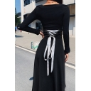 Black Simply Women's Detached Cuff Square Neck Lace Up Back Pleated Maxi A-Line Dress