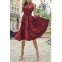 Gorgeous Women's Maroon Sleeveless Surplice Neck Bow Tie Waist Pleated Midi Wrap A-Line Dress for Cocktail