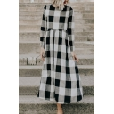 Fashion Girls' Long Sleeve Crew Neck Plaid Patterned Maxi Pleated Swing Dress in Black