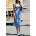 Cute Girls' Puff Sleeve Sweetheart Neck Floral Print Zipper Back High Split Side Long Flowy Dress in Light Blue
