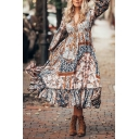 Women's Ethnic Blouson Sleeve V-Neck Bow Tie Waist Floral Print Ruffled Trim Long Boho Swing Dress in Coffee