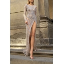 Boutique Ladies' Long Sleeve Round Neck Open Back Sequined High Slit Side Maxi Celebrity Column Dress in Silver