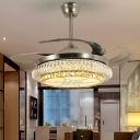 Modern Stylish Tier LED Ceiling Fan Light Beveled Crystal LED Silver Finish Semi Flush Lamp with Remote Control/Frequency Conversion