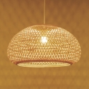 Handwoven Hanging Pendant Light with Dome Bamboo Shade 1 Head Asian Ceiling Hanging Light in Wood, 16