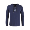 Mens Vintage Pattern Printed Lace-Up V Neck Long Sleeve Slim Fit Navy Blue T-Shirt