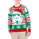 Ugly Christmas Santa 3D Printed Long Sleeve Round Neck Loose Pullover Sweatshirt