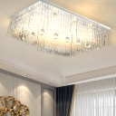 Rectangular Flush Mount Lighting Modern Crystal Rod LED Dining Room Ceiling Light Fixture in Nickel