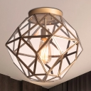Metal Faceted Ceiling Lighting Colonial 1 Head Bedroom Flush Mount Fixture with Clear Beveled Glass in Brass