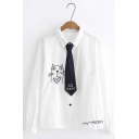 Girls Cute Cat Embroidered Tie Lapel Collar Long Sleeve Oversized White Shirt