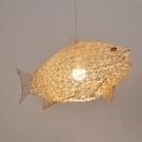 Woven Fish Hanging Light Rattan 1 Light Modern Style Pendant Lighting for Living Room