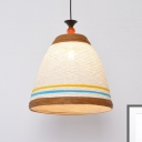 Nordic Bucket Hanging Ceiling Light 1 Light Rattan Shade Ceiling Pendant Lamp in Brown/Yellow, 10