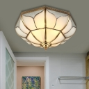 Bowl Milky Glass Ceiling Mounted Fixture Colonial 4 Bulbs Living Room Flush Mount Ceiling Lamp in Brass