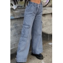 Street Trendy Girls' High Waist Utility Long Baggy Wide Jeans in Blue