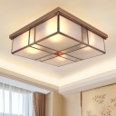 Brass 3/4 Heads Flush Mount Lamp Colonialism Sandblasted Glass Square Ceiling Fixture for Living Room