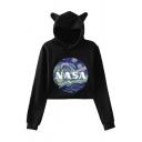 Womens Chic NASA Painting Print Long Sleeve Cat Ear Loose Cropped Hoodie
